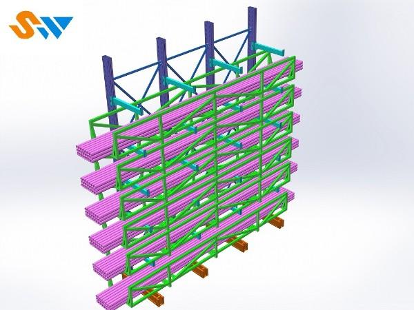 悬臂货架厂家阐述:普通悬臂货架是如何存放管材